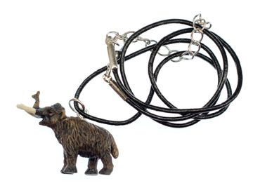 Mammut Halskette Miniblings Lederkette Kette Gummi Steinzeit Urzeit Tier Gummi – Bild 1
