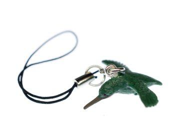 Kolibri Handyanhänger Miniblings 30mm Handyschmuck Gummi Vogel grün Tiere – Bild 1