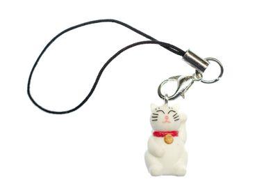 Glückskatze Winkekatze Handyanhänger Miniblings Maneki Neko Katze Glöckchen weiß – Bild 1