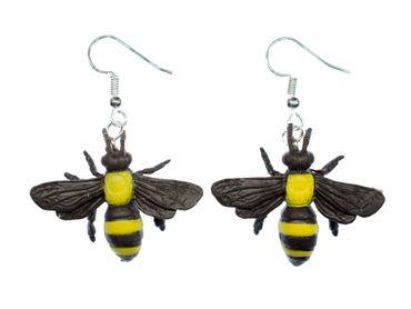Biene Ohrringe Miniblings Bienenohrringe Tiere Tier Gummi gelb Bienchen 30mm – Bild 1