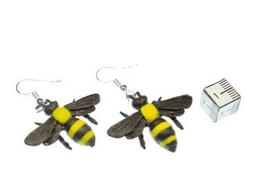 Biene Ohrringe Miniblings Bienenohrringe Tiere Tier Gummi gelb Bienchen 30mm – Bild 2