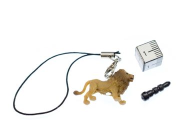 Lion Lions Mobile Phone Charm Miniblings Pendant Rubber 30mm Brown Animal – Bild 2