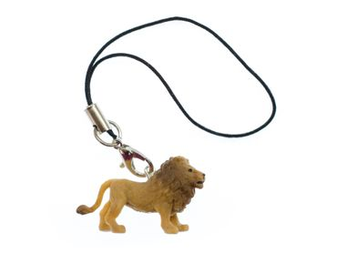 Lion Lions Mobile Phone Charm Miniblings Pendant Rubber 30mm Brown Animal – Bild 1