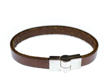Leather Men'S Bracelet Wristlet Dangle Miniblings Light Brown 10mm Magnetic G – Bild 2