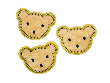 3pcs Bear Head Patch Hotfix Iron On Application Miniblings Forest Brown Teddy Animal – Bild 1