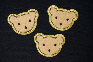 3pcs Bear Head Patch Hotfix Iron On Application Miniblings Forest Brown Teddy Animal – Bild 2