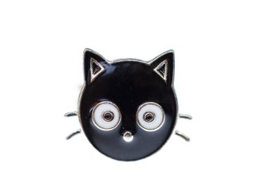 Cat Head Ring Miniblings Cat Animal Head Kitty Sweet Black Click Button Animal – Bild 1