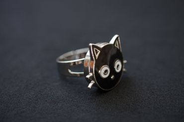 Cat Head Ring Miniblings Cat Animal Head Kitty Sweet Black Click Button Animal – Bild 3