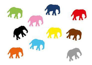 10X Elephant Patch Hotfix Iron On Motif Miniblings 34mm Velvety Flock Elephants Africa India – Bild 1
