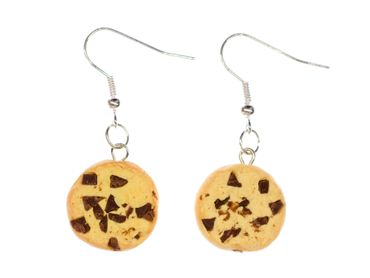 Cookie Chocolate CHIPS Earrings Miniblings Christmas Biscuit Cookies Handmade – Bild 1