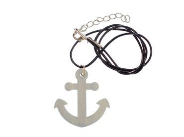 Anchor Necklace Miniblings 50cm Sea Boat Lake Sea LC Pendant Wood Blue – Bild 1
