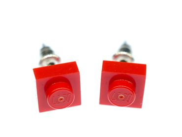 Lego Earrings Ear Studs Earstuds Miniblings Block Upcycling Square Red – Bild 1