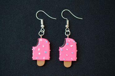 Eis am Stiel Ohrringe Hänger Miniblings Eiscreme Sommer bunte Streusel pink Biss – Bild 2