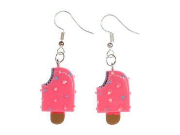 Eis am Stiel Ohrringe Hänger Miniblings Eiscreme Sommer bunte Streusel pink Biss – Bild 4