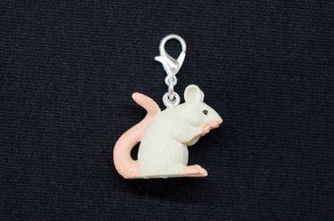 Maus Charm Ratte Zipper Pull Anhänger Miniblings Tier Ratte Gummi weiß Nagetier – Bild 1