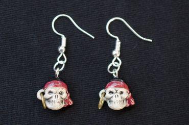 Skull Earrings Earhooks Miniblings Halloween Pirat Human Scary – Bild 3