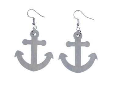 Anchor light blue Earrings Miniblings Sea Ocean Water Marine Boat wooden 4mm – Bild 1