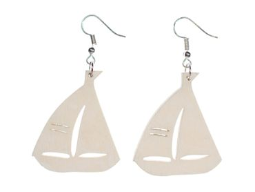 Sailboat Earrings Earring Miniblings Sailing Sea Boat Maritime Wood White 40mm – Bild 1
