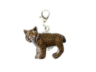 Luchs Charm Anhänger Miniblings Bettelarmband Charms Tiere Katze Keramik 23mm – Bild 1