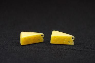Cheese Ear Studs Earstuds Miniblings Earrings Mice Mouse Food Yellow – Bild 1
