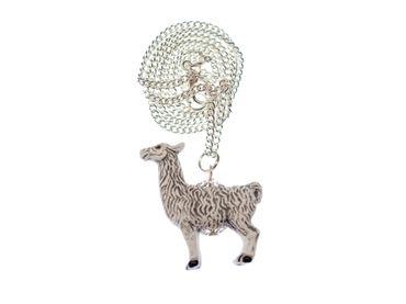 Alpaca Necklace Miniblings Lama Wool Animal Ceramics 45cm White Peru – Bild 1