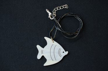 Fish Necklace Miniblings Wood Laser Cut Wooden Fish Animals Animal Ocean 40mm – Bild 3