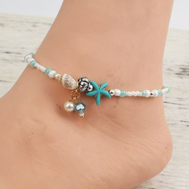 Pearl Anklet Miniblings Beach Summer Beads Blue coulours holiday sun 28cm – Bild 3