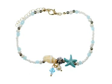 Pearl Anklet Miniblings Beach Summer Beads Blue coulours holiday sun 28cm – Bild 4