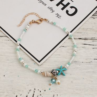 Pearl Anklet Miniblings Beach Summer Beads Blue coulours holiday sun 28cm – Bild 1