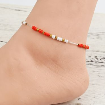 Pearl Anklet Miniblings Beach Summer Colorful Beads mixed coulours holiday 28cm – Bild 4