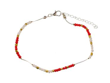 Pearl Anklet Miniblings Beach Summer Colorful Beads mixed coulours holiday 28cm – Bild 1