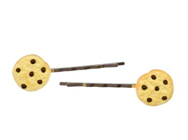 2 pcs Cookie Hairclips Miniblings Hair Clip Chocolate Chips 5cm – Bild 1