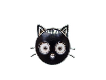 Cat Head Brooch Miniblings Cats pet animal Pin Button Buttons Click Button – Bild 1