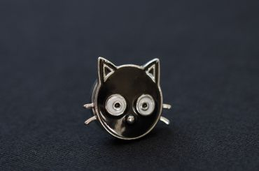 Cat Head Brooch Miniblings Cats pet animal Pin Button Buttons Click Button – Bild 3