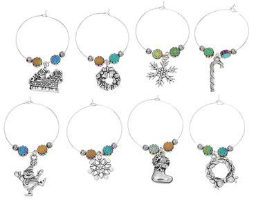 8x Glasmarkierer Glasmarker Party Miniblings Glasanhänger Weihnachten Schnee – Bild 1