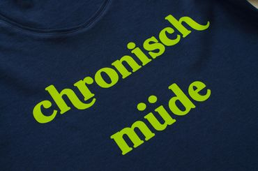 Longsleeve Chronisch Müde Miniblings Shirt Chronically  Tired Top Blue Print Size M – Bild 2