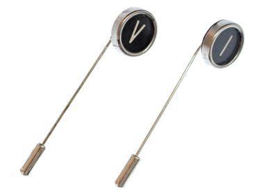 Buchstabe WUNSCH Krawattennadel Miniblings Krawattenhalter Initiale ABC schwarz – Bild 4
