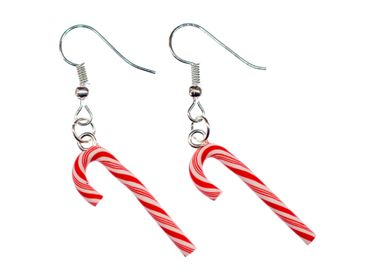Candy Cane Earrings Miniblings Candy Canes Christmas Red White 27mm – Bild 2