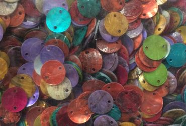 200 Pearl Discs Miniblings Mother Of Pearl Discs Two Holes 12mm Random Colours – Bild 3