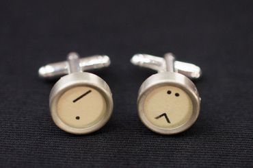 Smiley Slash Cuff Links Cufflinks Typewriter Keys Miniblings Characters White – Bild 1