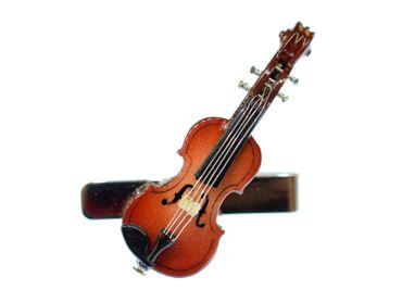 Geige Krawattennadel Krawattenhalter +Box Miniblings Instrument Violine 5cm Holz – Bild 2