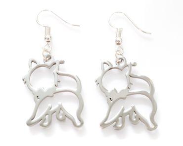 Cat Silhouette Earrings With Heart Earring Miniblings Animal Kitten Cat  – Bild 1