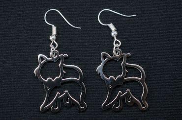 Cat Silhouette Earrings With Heart Earring Miniblings Animal Kitten Cat  – Bild 3