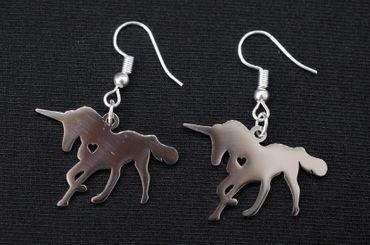 Einhorn Silhouette Ohrringe Ohrring Hänger Miniblings Tier Pferd Herz Märchen – Bild 3