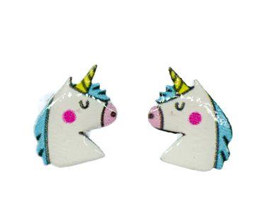 Einhorn Ohrstecker Miniblings Ohrringe Tier Reiter Pferd Gaul Huftier Fantasy – Bild 1