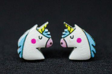 Einhorn Ohrstecker Miniblings Ohrringe Tier Reiter Pferd Gaul Huftier Fantasy – Bild 3