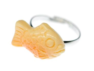 Fish Ring Miniblings Finger Ring Orange Ocean Sea Life Lake Fish Taiyaki – Bild 1