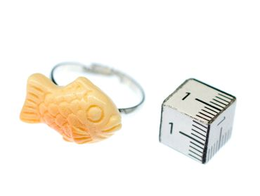 Fish Ring Miniblings Finger Ring Orange Ocean Sea Life Lake Fish Taiyaki – Bild 2
