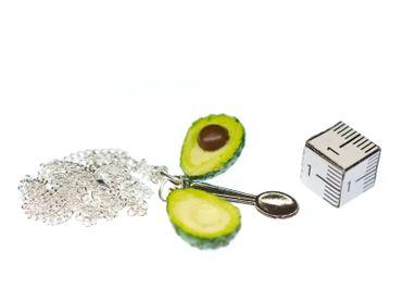 Avocado Kette Halskette Miniblings Kette 45cm Silber Veggie Gemüse Superfood – Bild 3