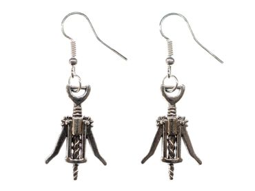 Corkscrew Earrings Miniblings Red Wine Metal Wineglass Wine Bottles Cork – Bild 1